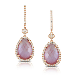 Viola Amethyst and Pink Mother of Pearl Earrings image 2
