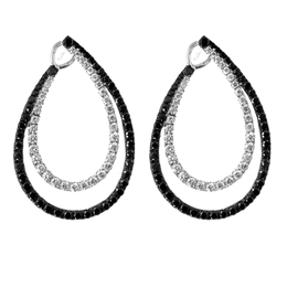 Gothica Black and White Diamond Drop Earrings image 2