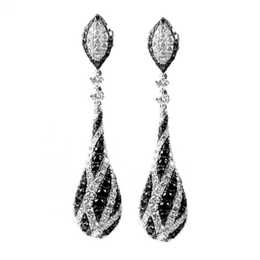 Gothica Black and White Diamond Dangle Earrings image 2