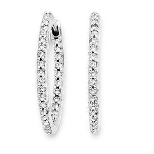 24mm 3/4 Ct Diamond Hoop Huggie Earrings 14K WG