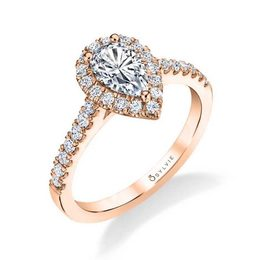 Emma Pear Cut Engagement Ring with Halo image 2
