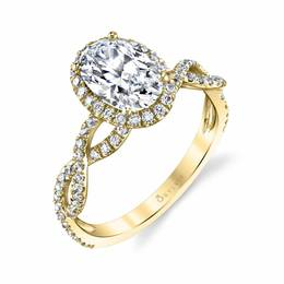 Spiral Oval Diamond Engagement Ring image 1