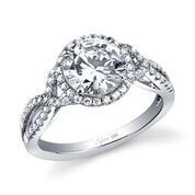 Jocelina Spiral Engagement Ring with Halo image 2
