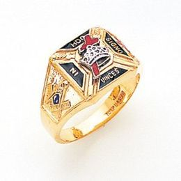 York Rite Solid Back Masonic Ring in 10K Gold