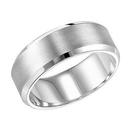 Brushed Finish Beveled Edge 8 mm Wedding Band image 2