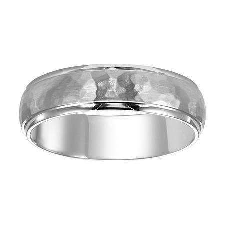 Hammered Finish Rolled Edge Wedding Band image 2