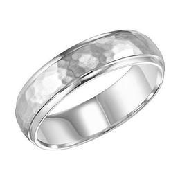Hammered Finish Rolled Edge Wedding Band image 3