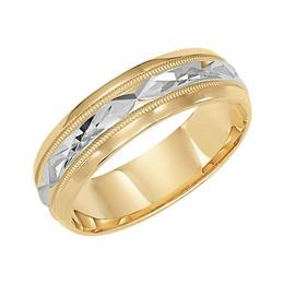 Diamond Cut Engraved Wedding Band with Milgrain Accent and Beveled Edges image 2