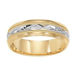 Diamond Cut Engraved Wedding Band with Milgrain Accent and Beveled Edges image 3