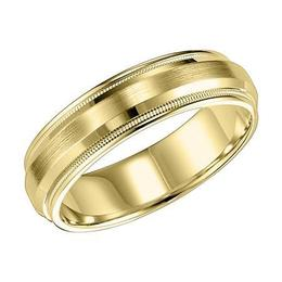 Low Dome Brushed Finish Milgrain and Rounded Edge Wedding Band image 2