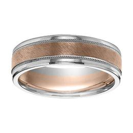 Two-Tone Wedding Band with Bright Rolled Edgesand Flat Diagonal Finish with Milgrain Accent image 2