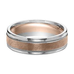 Two-Tone Wedding Band with Bright Rolled Edgesand Flat Diagonal Finish with Milgrain Accent image 3