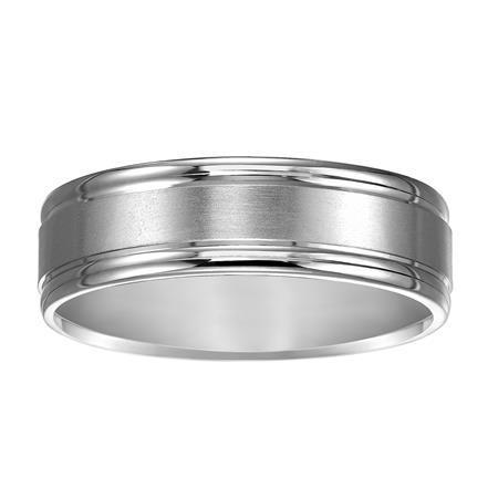 Classic Wedding Band with Satin Finish and Round Edges image 2