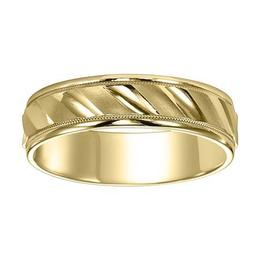 Lustrous Diagonal Cut Wedding Band with Milgrain and Rolled Edges image 2