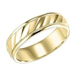 Lustrous Diagonal Cut Wedding Band with Milgrain and Rolled Edges image 3