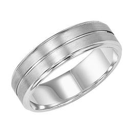Comfort Fit Wedding Band with Bright Center Line, Satin Finish and Round Edges image 1