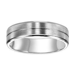 Comfort Fit Wedding Band with Bright Center Line, Satin Finish and Round Edges image 2