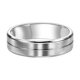 Comfort Fit Wedding Band with Bright Center Line, Satin Finish and Round Edges image 3