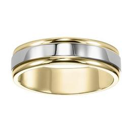 Bright Polished Two-Tone Band with Rounded Edges image 2