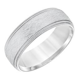 Double Milgrain Edge Crystalline Finish Dome Wedding Band image 2