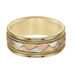 Tri-Color Band with Woven Insert, Flat, Soft Sand Finish with Rope Detailing image 3