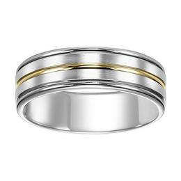 Brushed Finish Wedding Band with Contrasting Center Stripe image 2