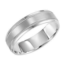 Satin Finish Flat Wedding Band with Milgrain Accent and Beveled Edge image 2