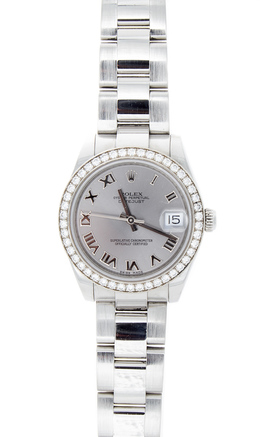 Rolex Pre-Owned 31mm Rhodium Roman Dial with Diamond Bezel image 2