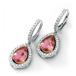 Designer Pink Tourmaline Earrings by Simon G