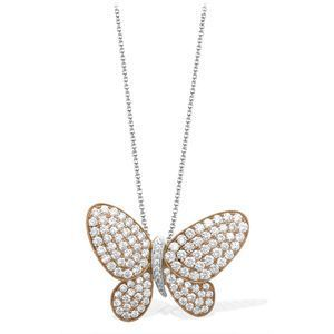 Simon G Rose Gold and Diamond Butterfly Necklace