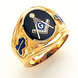 Custom 10k Solid Back Blue Lodge Masonic Ring