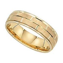 Fashionable Mens Gold Wedding Band by Lieberfarb