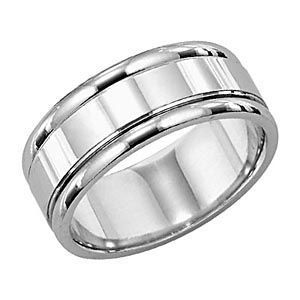 8mm Wide Comfort Fit Mens Wedding Ring by Lieberfarb