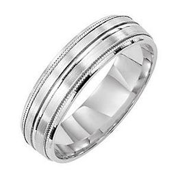 Comfort Fit Mens 6mm White Gold Wedding Band