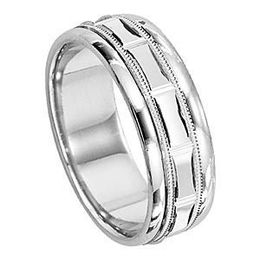Lieberfarb 14k White Gold Mens Wedding Band