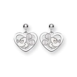 Adorable White Gold Mickey Heart Earrings