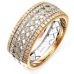 Simon G 18k White and Rose Gold Diamond Band
