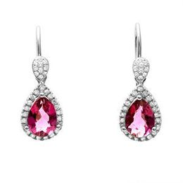 Beautiful Simon G. Teardrop Rubilite Diamond Earrings