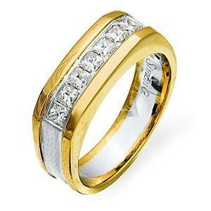 Handsome Princess Cut Two-tone Ring by Simon G.