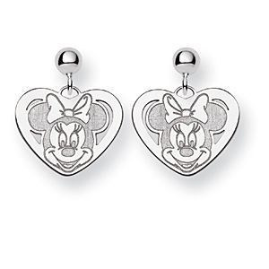 14k White Gold Minnie Mouse Dangle Post Earrings