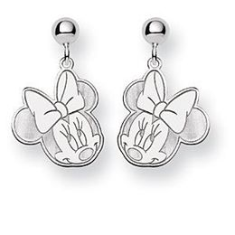 Minnie Mouse Dangle Post Earrings in 14k White Gold