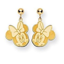 Minnie Mouse Yellow Gold Dangle Post Earrings