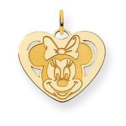 Minnie Mouse 14k Yellow Gold Heart Charm