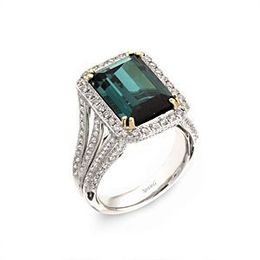 Emerald Cut Green Tourmaline Ring by Simon G.