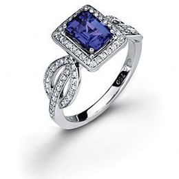 Simon G. Emerald Cut Tanzanite and Diamond Ring