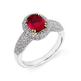 Elegant Simon G. Ruby and Diamond Ring