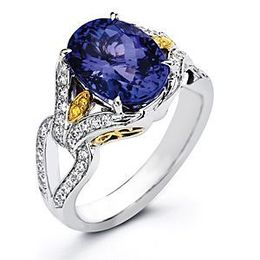 Beautiful Two-tone Simon G. Diamond and Tanzanite Ring
