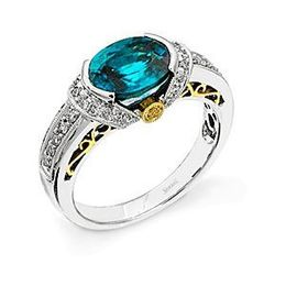 Stunning Two-tone Simon G. Blue Zircon Ring