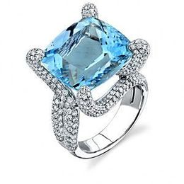 Elegant Aquamarine and Diamond Ring by Simon G.