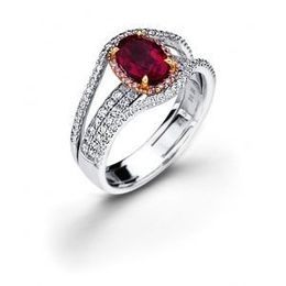 Simon G. Diamond and Ruby Fashion Ring